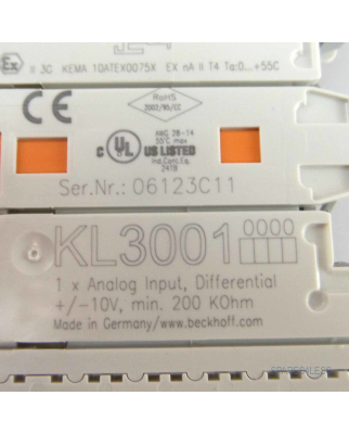 Beckhoff 1-Kanal-Analog-Eingangsklemmen KL3001 OVP