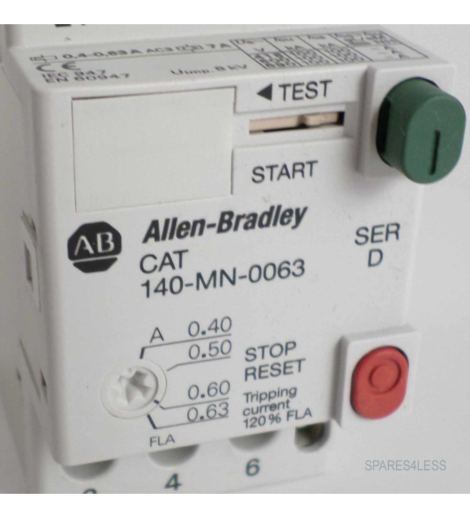 Allen Bradley Manual Motor Starter 140 Mn 0063 Ser D Geb