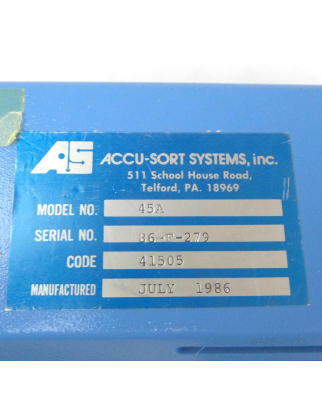 ACCU-SORT SYSTEMS Scanner Model No. 45A Code 41505 GEB