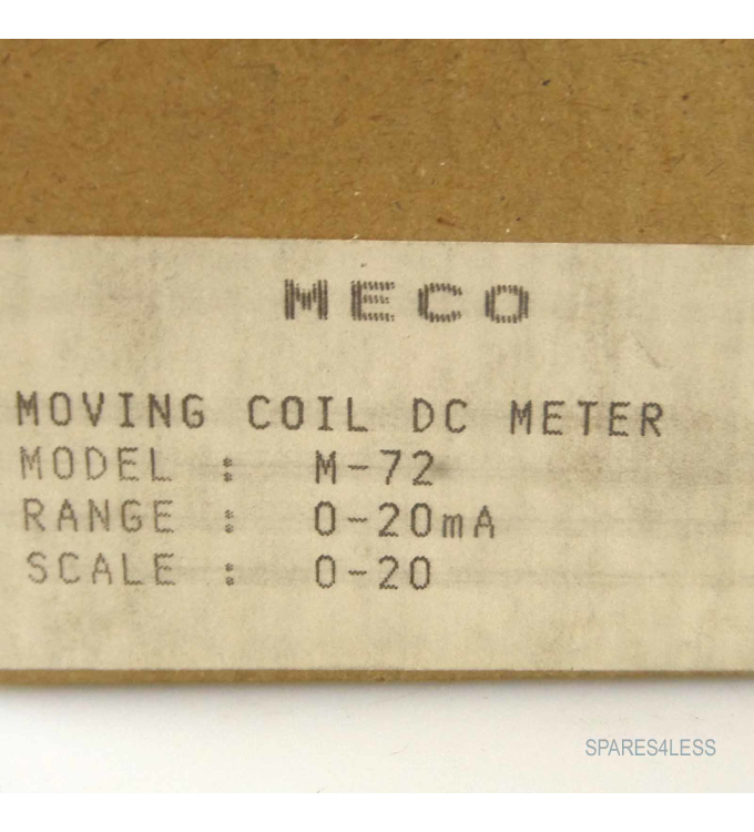 MECO DC METER M-72 0-20mA OVP