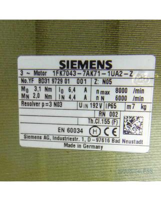 Siemens Synchron-Servomotor 1FK7043-7AK71-1UA2-Z  Z=N05 GEB