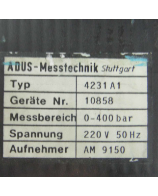ADUS-Messtechnik Druckmessgerät Typ 4231A1 0-400 bar...