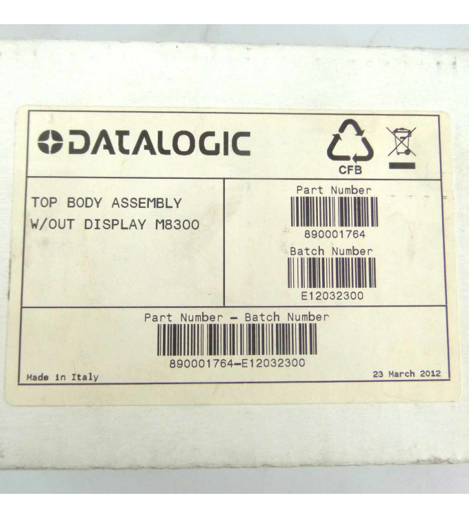 Datalogic Top Body Assembly w/out Display M8300 890001764 OVP