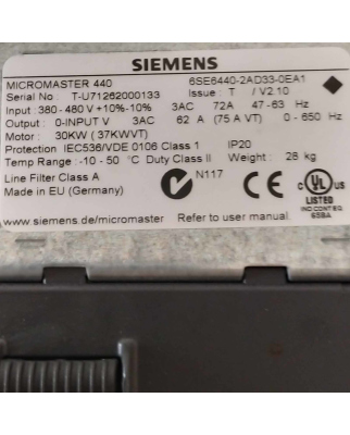 Siemens MICROMASTER 440 6SE6440-2AD33-0EA1...