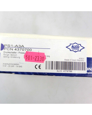 ALCO Controls Druckschalter PS1-A3A -0,5-7bar OVP