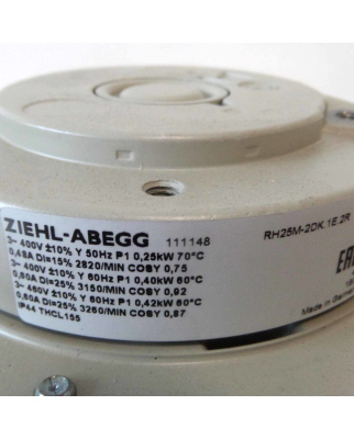 ZIEHL-ABEGG Radialventilator RH25M-2DK.1E.2R 111148 400V 50/60Hz OVP