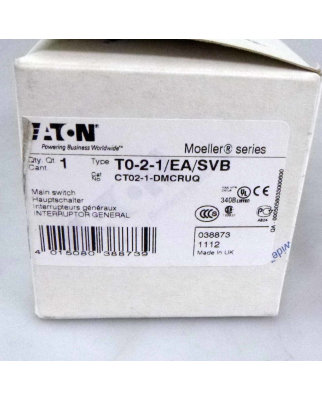 Klöckner Moeller Hauptschalter T0-2-1/EA/SVB 038873 OVP