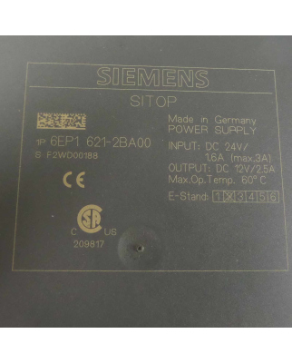 Siemens SITOP Stromversorgung 6EP1 621-2BA00 GEB