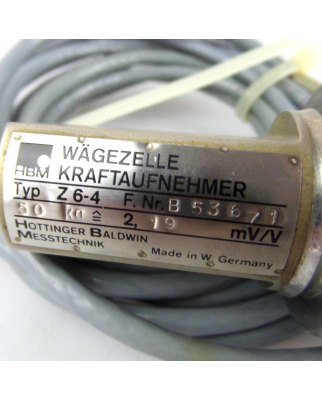 HBM Wägezelle Kraftaufnehmer Typ Z6-4 B53671 50kg GEB
