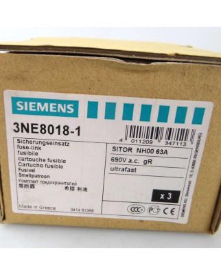Siemens Sitor Sicherungseinsatz 3NE8 018-1 (3Stk.) OVP