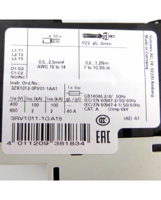 Siemens Leistungsschalter 3RV1011-1GA15 OVP
