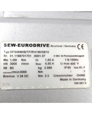 SEW-EURODRIVE Servomotor DFS56M/B/TF/RH1M/SB10 NOV