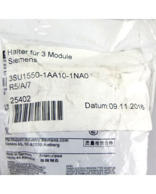 Siemens Halter für 3 Module 3SU1550-1AA10-1NA0 OVP