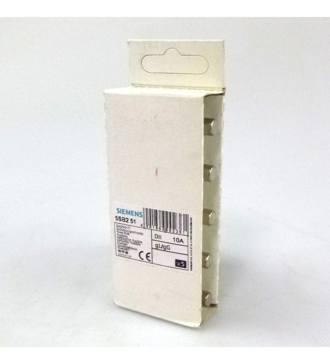 Siemens Diazed Sicherungseinsätze DII 10A 5SB251 (5Stk.) OVP