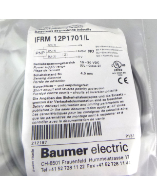 Baumer electric induktiver Näherungsschalter IFRM 12P1701/L OVP