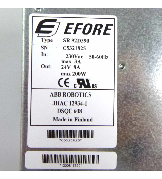 ABB / EFORE Power Supply DSQC608 3HAC12934-1 SR92D390 Rev.05 GEB