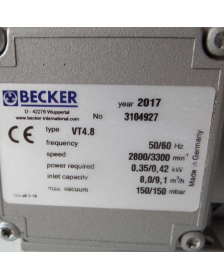 Becker Vakuumpumpe VT4.8 3104927 150/150mbar NOV