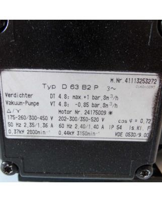 Becker Vakuumpumpe D 63 B2 P 41113253272 8m³/h GEB