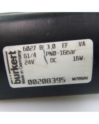 bürkert 2/2-Wege Magnetventil 6027 B 3,0 EF G1/4...
