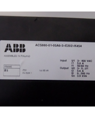 ABB Frequenzumrichter ACS880-01-05A6-3+E202+K454 OVP