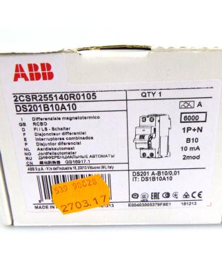 ABB Fehlerstrom-Schutzschalter DS201B10A10...