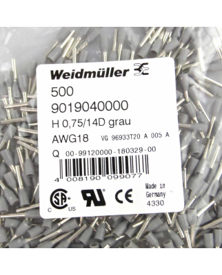 Weidmüller Aderendhülse 9019040000 H0,75/14DGR...