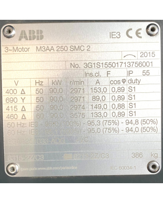 ABB Käfigläufermotor M3AA 250SMC 2...