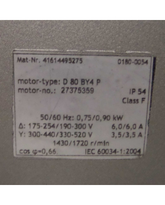 Becker Vakuumpumpe D 80 BY4 P 41614495275 0,75/0,90kW...