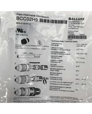 Balluff Steckverbinder BCC02H9 BKS-S109-RT14 (2Stk.) OVP