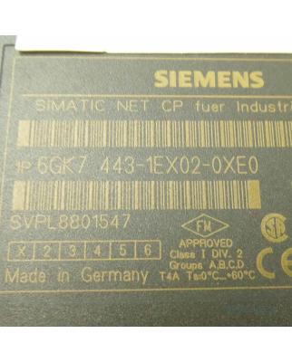 Simatic NET CP443-1 6GK7 443-1EX02-0XE0 E-Stand:01 GEB