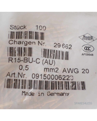Harting Buchsenkontakt R15-BU-C (AU) 0,5mm2 AWG20 (100Stk) OVP