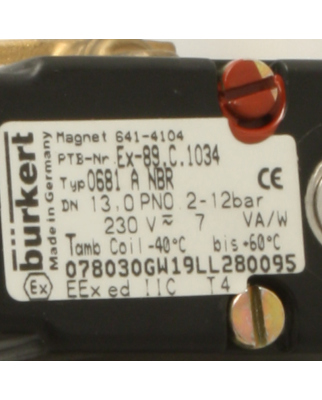 bürkert Magnetventil 0681 A NBR 641-4104 -...